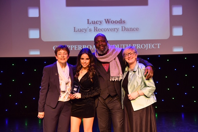 Best Performer – Lucy Woods with Hollyoaks actor Trevor A Toussaint, Eithne Browne and PHHolt Trust Manager Anne Edwards.jpg