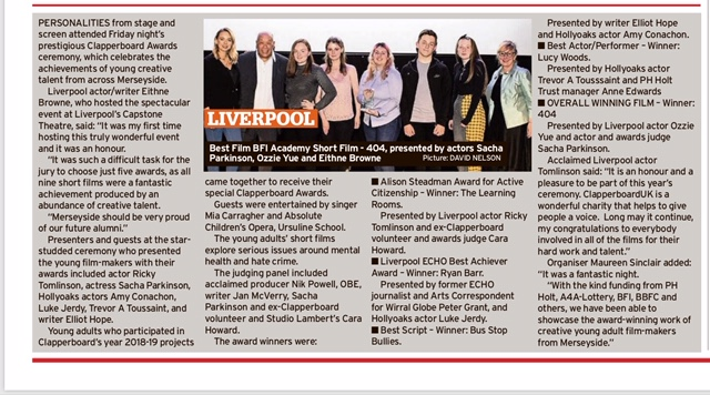 Awards write-up in Liverpool Echo